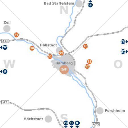 Karte mit Pensionen und anderen Unterkünften rund um Bamberg