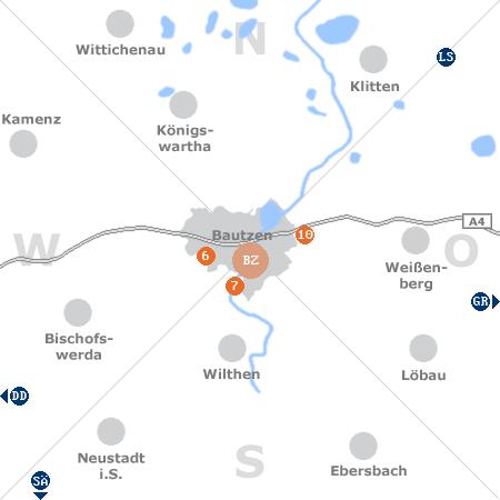 Karte mit Pensionen und anderen Unterkünften rund um Bautzen