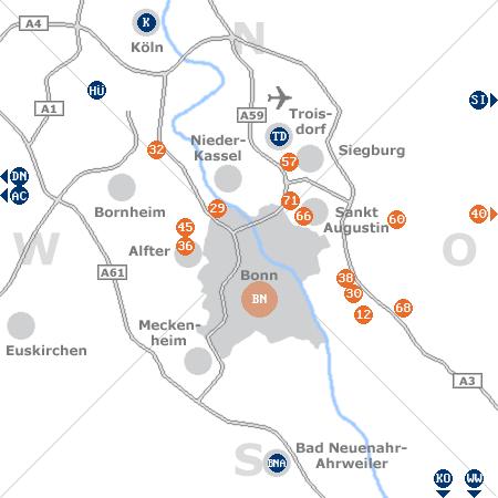 Karte mit Pensionen und anderen Unterkünften rund um Bonn