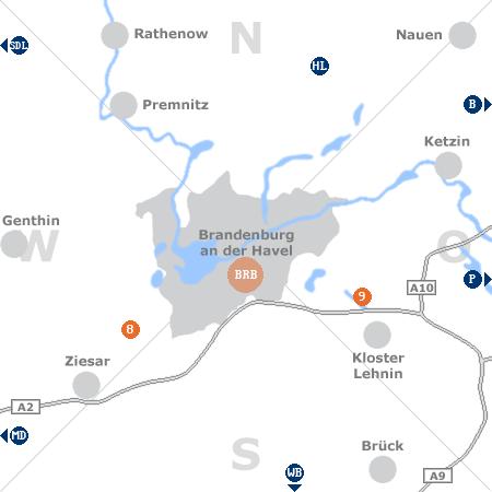 Karte mit Pensionen und anderen Unterkünften rund um Brandenburg an der Havel