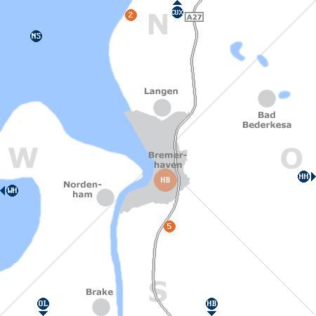 Karte mit Pensionen und anderen Unterkünften rund um Bremerhaven