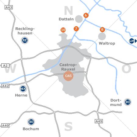 Karte mit Pensionen und anderen Unterkünften rund um Castrop-Rauxel