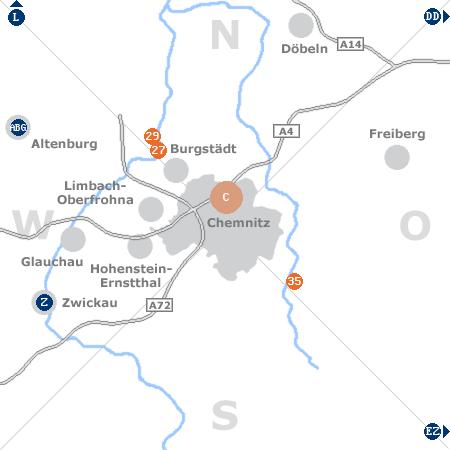 Karte mit Pensionen und anderen Unterkünften rund um Chemnitz