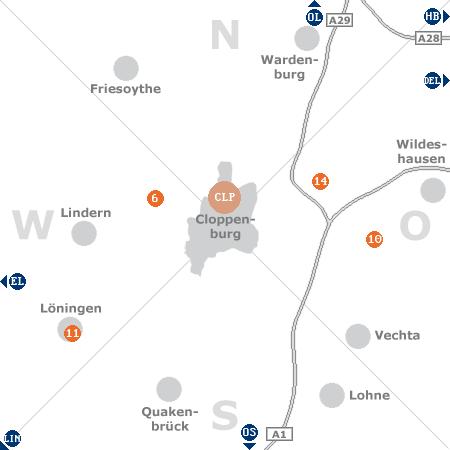 Karte mit Pensionen und anderen Unterkünften rund um Cloppenburg