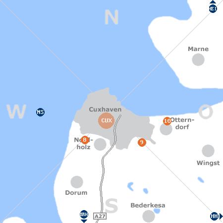 Karte mit Pensionen und anderen Unterkünften rund um Cuxhaven