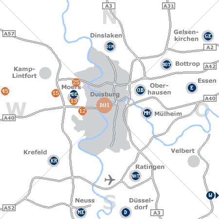 Karte mit Pensionen und anderen Unterkünften rund um Duisburg