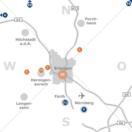 Karte mit Pensionen und anderen Unterkünften rund um Erlangen