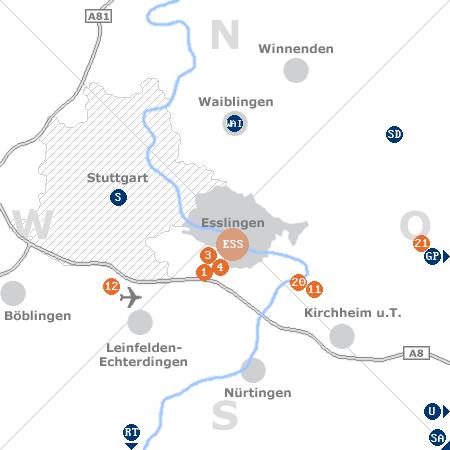 Karte mit Pensionen und anderen Unterkünften rund um Esslingen am Neckar