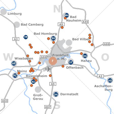 Karte mit Pensionen und anderen Unterkünften rund um Frankfurt a. M.