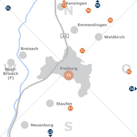 Karte mit Pensionen und anderen Unterkünften rund um Freiburg