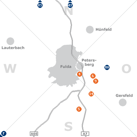 Karte mit Pensionen und anderen Unterkünften rund um Fulda