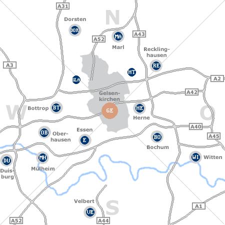 Karte mit Pensionen und anderen Unterkünften rund um Gelsenkirchen
