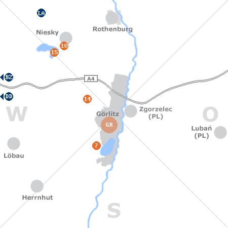 Karte mit Pensionen und anderen Unterkünften rund um Görlitz