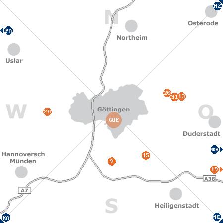 Karte mit Pensionen und anderen Unterkünften rund um Göttingen