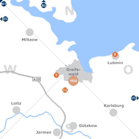 Karte mit Pensionen und anderen Unterkünften rund um Greifswald