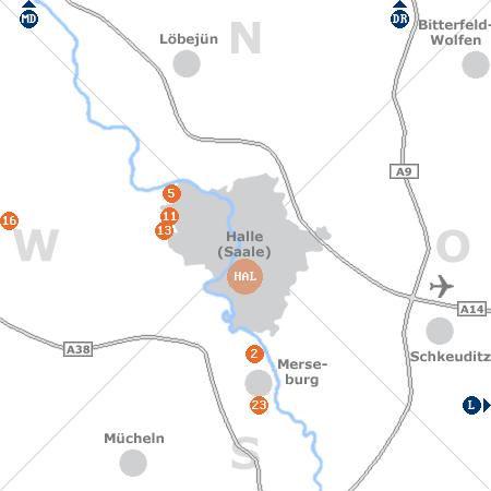 Karte mit Pensionen und anderen Unterkünften rund um Halle (Saale)