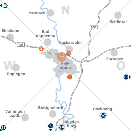 Karte mit Pensionen und anderen Unterkünften rund um Heilbronn