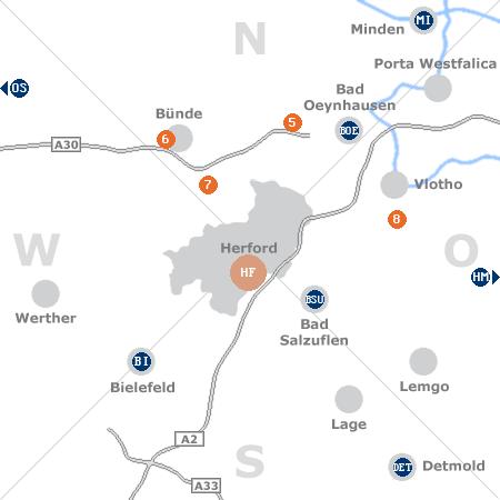 Karte mit Pensionen und anderen Unterkünften rund um Herford
