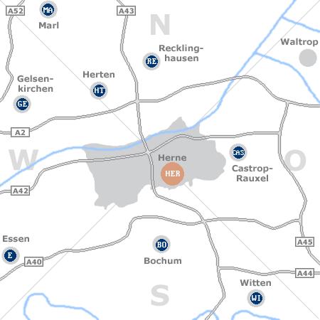 Karte mit Pensionen und anderen Unterkünften rund um Herne