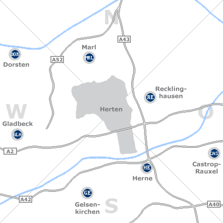 Karte mit Pensionen und anderen Unterkünften rund um Herten