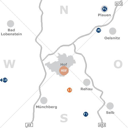 Karte mit Pensionen und anderen Unterkünften rund um Hof