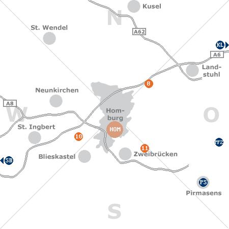 Karte mit Pensionen und anderen Unterkünften rund um Homburg