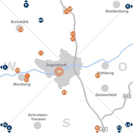 Karte mit Pensionen und anderen Unterkünften rund um Ingolstadt