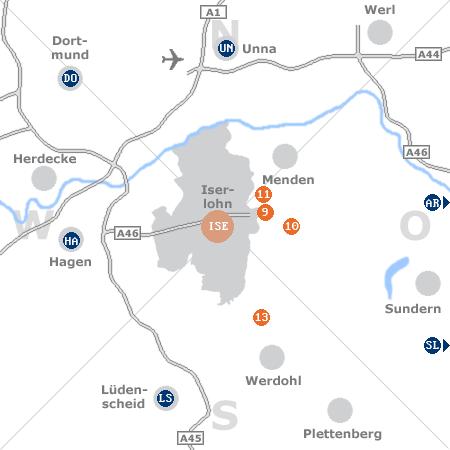 Karte mit Pensionen und anderen Unterkünften rund um Iserlohn