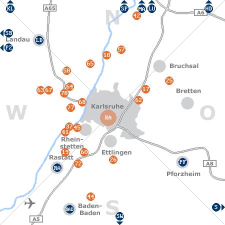 Karte mit Pensionen und anderen Unterkünften rund um Karlsruhe