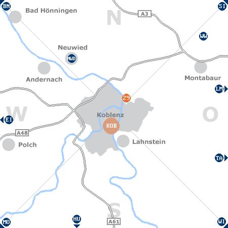 Karte mit Pensionen und anderen Unterkünften rund um Koblenz