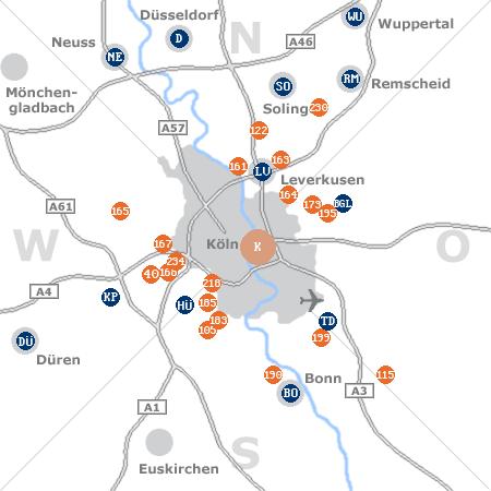 Karte mit Pensionen und anderen Unterkünften rund um Köln
