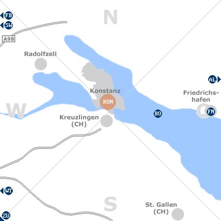 Karte mit Pensionen und anderen Unterkünften rund um Konstanz