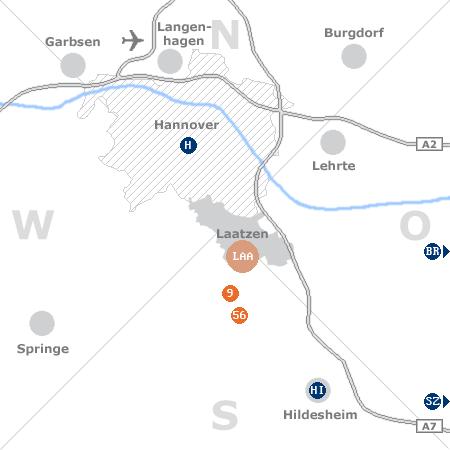 Karte mit Pensionen und anderen Unterkünften rund um Laatzen