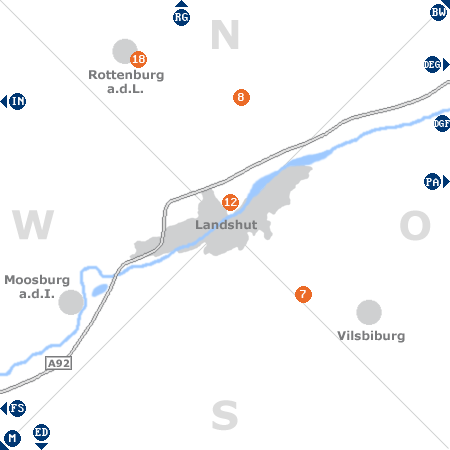 Karte mit Pensionen und anderen Unterkünften rund um Landshut