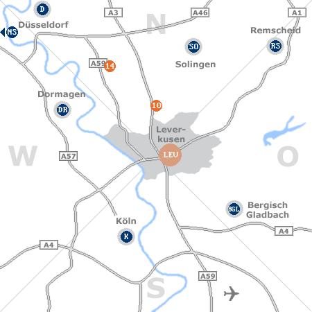Karte mit Pensionen und anderen Unterkünften rund um Leverkusen