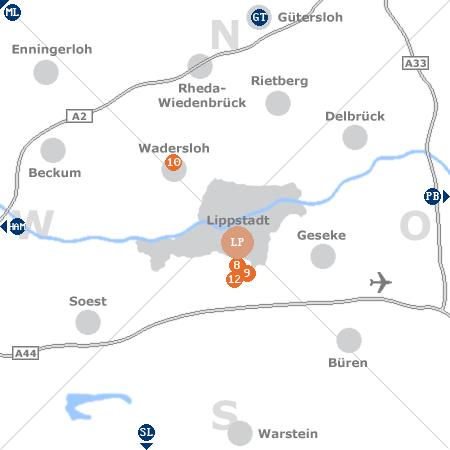Karte mit Pensionen und anderen Unterkünften rund um Lippstadt