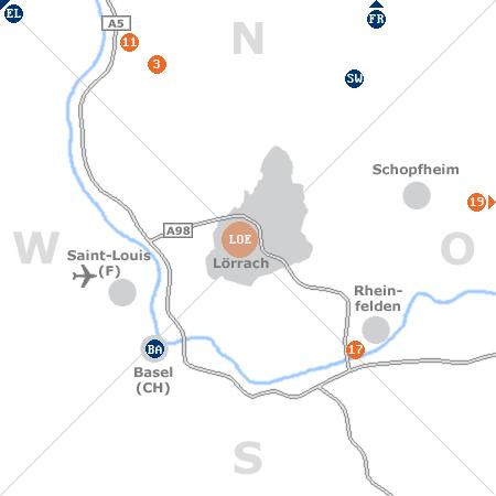 Karte mit Pensionen und anderen Unterkünften rund um Lörrach