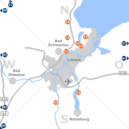 Karte mit Pensionen und anderen Unterkünften rund um Lübeck