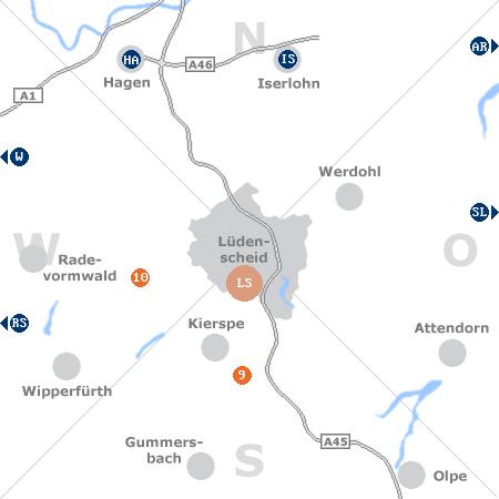 Karte mit Pensionen und anderen Unterkünften rund um Lüdenscheid