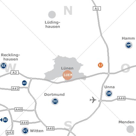 Karte mit Pensionen und anderen Unterkünften rund um Lünen