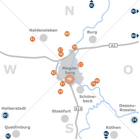 Karte mit Pensionen und anderen Unterkünften rund um Magdeburg