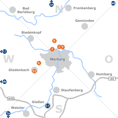 Karte mit Pensionen und anderen Unterkünften rund um Marburg