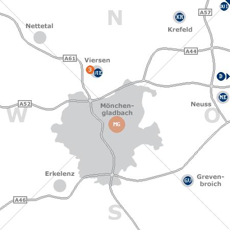 Karte mit Pensionen und anderen Unterkünften rund um Mönchengladbach