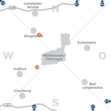 Karte mit Pensionen und anderen Unterkünften rund um Mühlhausen / Thüringen
