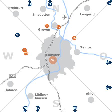 Karte mit Pensionen und anderen Unterkünften rund um Münster