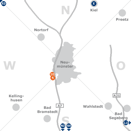 Karte mit Pensionen und anderen Unterkünften rund um Neumünster