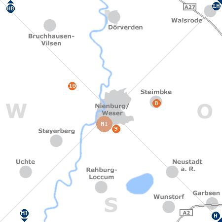 Karte mit Pensionen und anderen Unterkünften rund um Nienburg / Weser