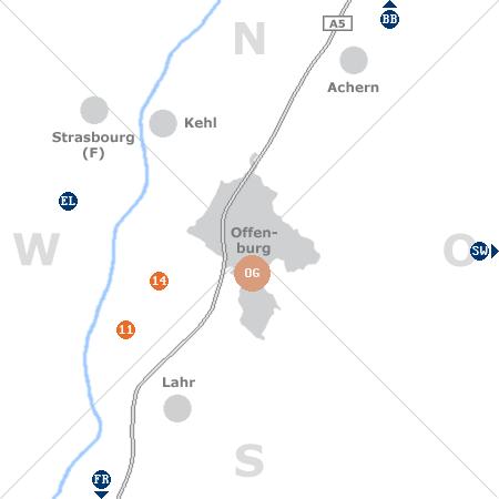 Karte mit Pensionen und anderen Unterkünften rund um Offenburg