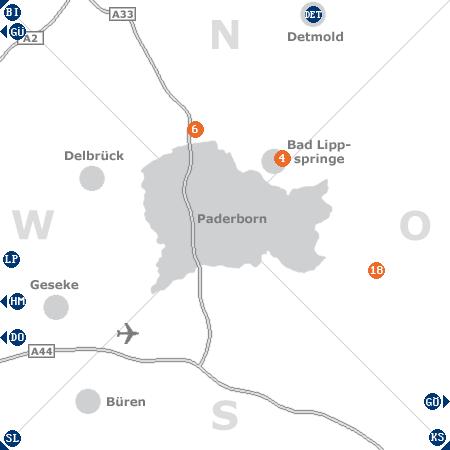 Karte mit Pensionen und anderen Unterkünften rund um Paderborn