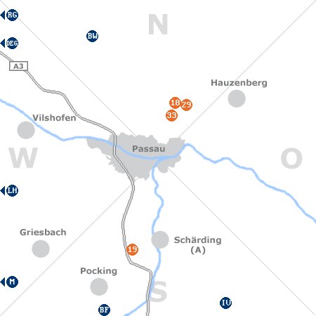 Karte mit Pensionen und anderen Unterkünften rund um Passau